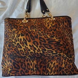 Chico's Leopard print fabric & faux leather tote